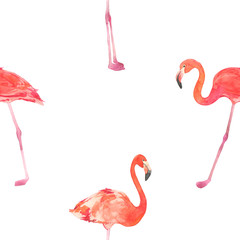Seamless watercolor pattern with a bird flamingo. Beautiful pink bird. Tropical flamingo.