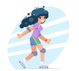 Roller girl cute flat design character vector illustration