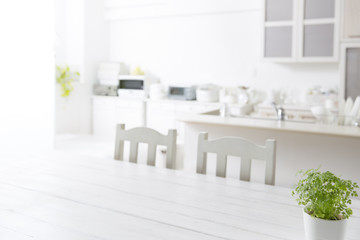 White kitchen background