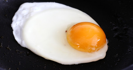 Aluminium Prints Egg Cooking fried eggs in a frying pan