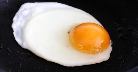 Foto op Canvas Gebakken Eieren Cooking fried eggs in a frying pan