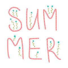 Summer floral lettering on white font