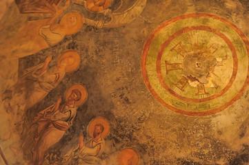 DEMRE, TURKEY - 13,07,2014 Frescos in the Saint Nicholas (Santa Clause) church  in Demre, Turkey. It's an ancient Byzantine Church