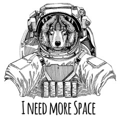 Wolf Dog Astronaut. Space suit. Hand drawn image of lion for tattoo, t-shirt, emblem, badge, logo patch kindergarten poster children clothing