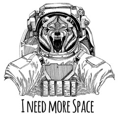 Wolf Dog Wild animal Astronaut. Space suit. Hand drawn image of lion for tattoo, t-shirt, emblem, badge, logo patch kindergarten poster children clothing