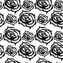 Black line floral pattern with flower and leaf