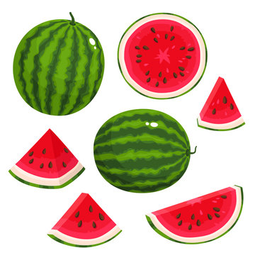 Bright vector set of juice watermelon isolated on white background.