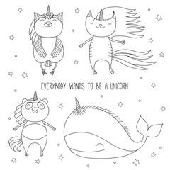 Garden Poster Illustrations Hand drawn black and white vector illustration of cute whale, cat, panda, and owl as unicorns flying among the stars. Isolated objects. Design concept for children coloring pages.
