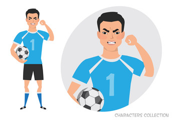 The evil asian soccer player threatens with his hand. Angry football player. Negative Emotions. Bad Days. Bad Mood Stressful men