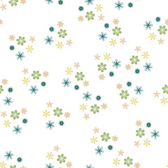 Pretty Floral Pattern with Simple Small Flowers for Greeting Card or Poster. Naive Daisy Flowers in Primitive Style. Vector Background for Spring or Summer Design.