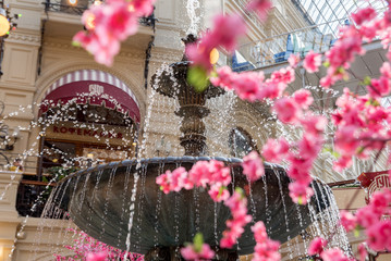 Moscow. Russia. April 10, 2018. Spring decorations in the main store of the country. Gum.