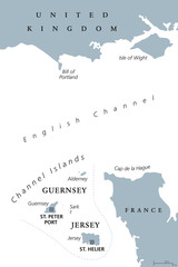Channel Islands political map. Crown dependencies Bailiwick of Guernsey and Bailiwick of Jersey with capitals. Archipelago off the french coast of Normandy. Gray illustration over white. Vector.