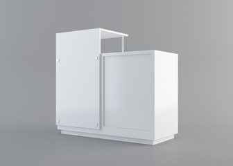 counter display from side view with clipping path. 3D rendering