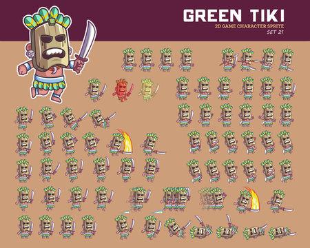 Green Tiki Cartoon Game Character Animation Sprite.