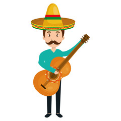 mexican mariachi playing guitar avatar character vector illustration design