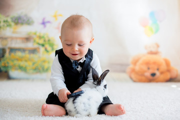 Cute little toddler boy, dressed smart casual, playing with little black and white rabbit