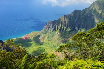 Poster Cote Kauai, Hawaii, USA: Na Pali Coast (Kalalau Lookout at Koke`e State Park)