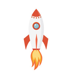 Rocket flying spaceship icon. Vector illustration.