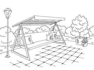 Garden swing graphic black white landscape sketch illustration vector