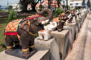 Small statues of elephants
