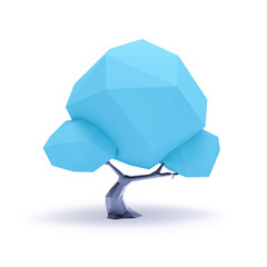 a blue low poly tree background