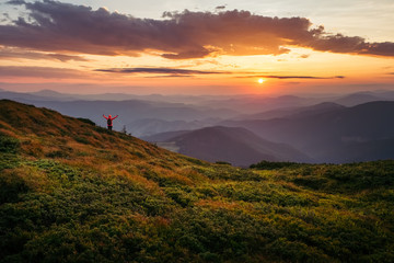 Unbelievably beautiful sky at sunset in Carpathian mountains
