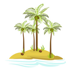 Illustration of a palm tree on an island. Decorative palm tree isolated on white background. Vector. Icon.
