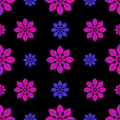 Stylized Dark Floral Seamless Pattern