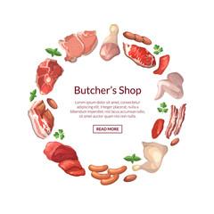 Vector cartoon meat elements