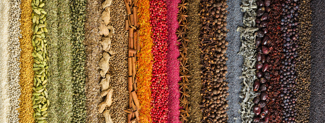 Fototapete - Indian spices and herbs background. colorful seasoning, top view.