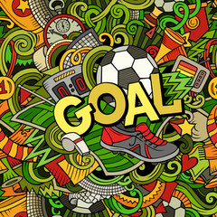 Cartoon cute doodles hand drawn Goal illustration