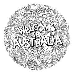 Cartoon cute doodles hand drawn Welcome to Australia inscription