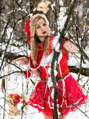 A girl in a red dress in a winter forest makes her way through the thickets. Little Red Riding Hood.