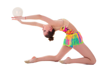 Aluminium Prints Gymnastics beautiful sporty woman doing gymnastics with ball isolated on white