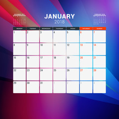 January 2018. Calendar planner design template with abstract background. Week starts on Monday
