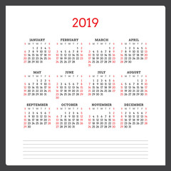 Calendar for 2019 year. Week starts on Sunday. Printable vector stationery design template