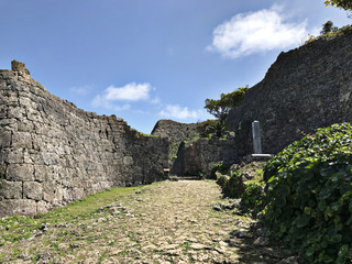 Gate of the stone wall at Nakagusuku-jo Site in Okinawa, Japan.