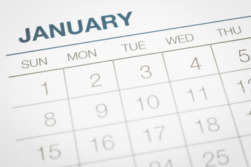 Calendar business planning, dates in January.