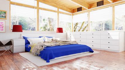 Helles Schlafzimmer mit vielen Fenstern