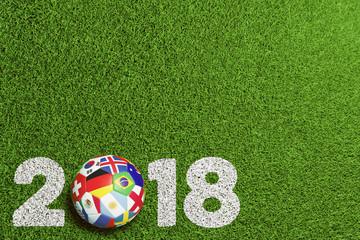 Fußball 2018 in Russland mit Teilnehmer Flaggen