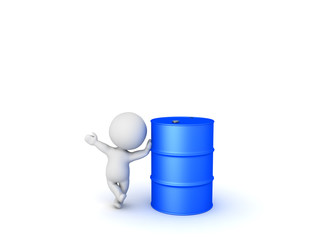 3D Character waving and leaning on oil drum