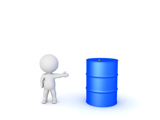3D Character showing blue oil drum Barrel