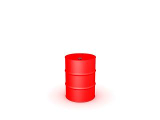 3D illustration of red oil drum barrel