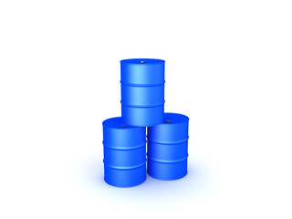 3D illustration of three oil barrels stacked on top of each other. Isolated on white..