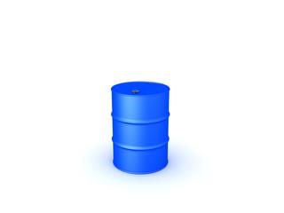 3D illustration of blue oil drum barrel