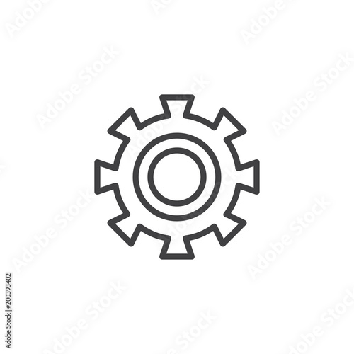 Cogwheel outline icon  linear style sign for mobile concept