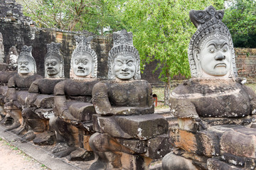 Sculptures of demons at south gate to Angkor Thom, Cambodia