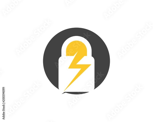 Security Guard Flash Logo Design Vector Shield Template