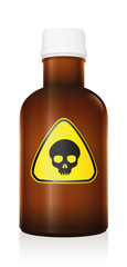 Poison bottle with skull as warning hazard symbol - isolated vector illustration on white background.