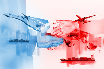 China USA trade war and American tariffs as two opposing cargo freight containers in conflict as an economic dispute over import and exports concept